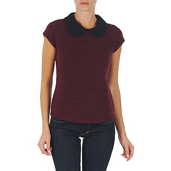 material Women jumpers Manoush TOP CROCHET CŒUR Bordeaux