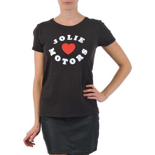 material Women short-sleeved t-shirts Kulte LOUISA JOLIEMOTOR 101954 NOIR Black