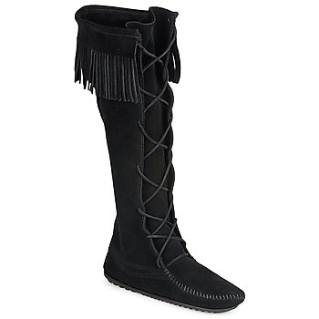 Shoes Women Boots Minnetonka FRONT LACE HARDSOLE KNEE HI BOOT Black