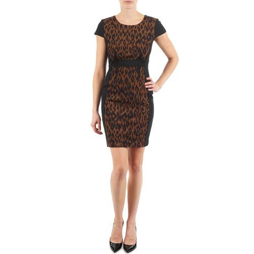 material Women Short Dresses Manoukian EMMA Black / Leopard