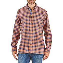 material Men long-sleeved shirts Hackett SOFT BRIGHT CHECK Orange / Blue