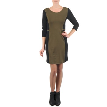 material Women Short Dresses La City ROKAMIL KAKI / Black