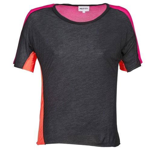 material Women short-sleeved t-shirts American Retro CAROLE Black / Pink