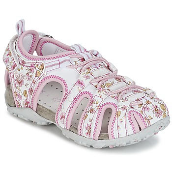 Shoes Girl Sports sandals Geox S.ROXANNE C White / Pink