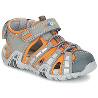 Shoes Boy Sports sandals Geox SANDAL KRAZE B Grey / Orange