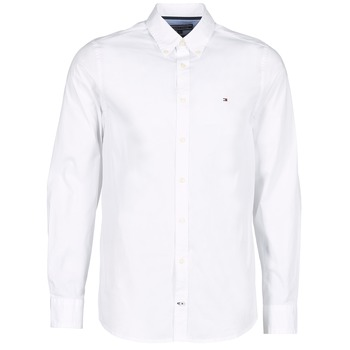 material Men long-sleeved shirts Tommy Hilfiger STRETCH POPLIN White
