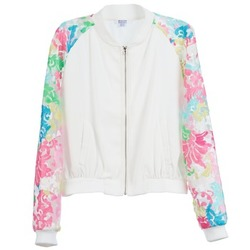 material Women Jackets Brigitte Bardot BB44045 White / Multicoloured