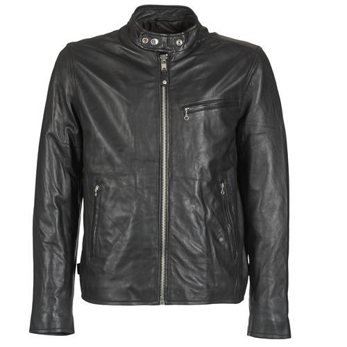 material Men Leather jackets / Imitation leather Schott BLODOU Black