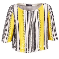 material Women Blouses Antik Batik ZABOU Yellow / White / Black