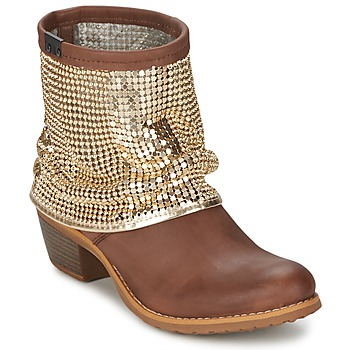 Ankle boots / Boots Bunker RIA Strass TAUPE / Golden 350x350