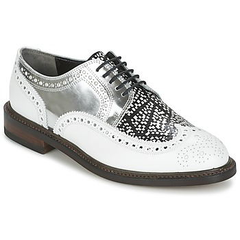Shoes Women Derby shoes Robert Clergerie ROELK White / Black / Silver