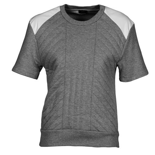 material Women sweaters Joseph RD NK SS Grey / Mottled / White