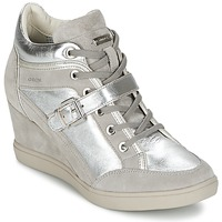 Shoes Women High top trainers Geox ELENI C Silver