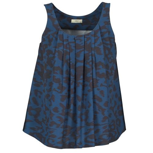 material Women Tops / Sleeveless T-shirts Lola CUBA Blue / Black