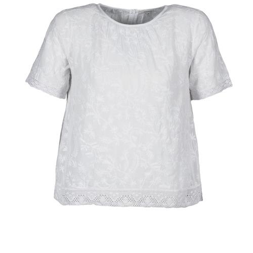 material Women short-sleeved t-shirts Manoush COTONNADE SMOCKEE White