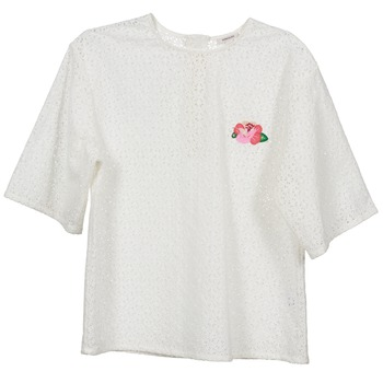 material Women Blouses Manoush FLOWER BADGE White