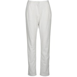 material Women 5-pocket trousers Manoush FLOWER BADGE White