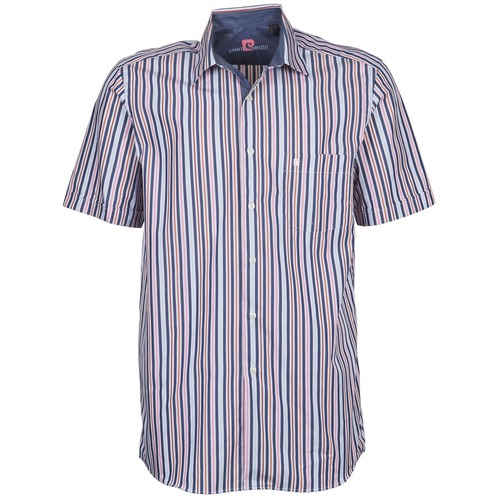 material Men short-sleeved shirts Pierre Cardin 514636216-184 Blue / Pink
