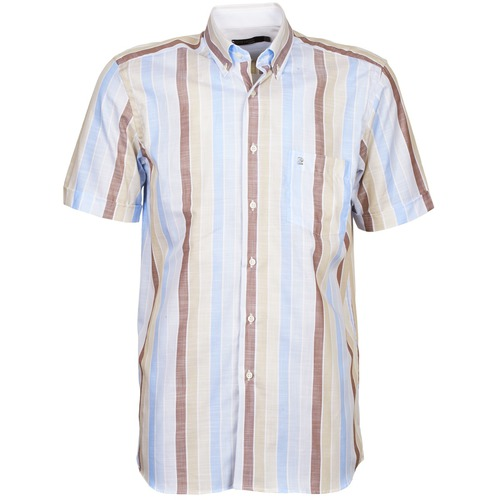 material Men short-sleeved shirts Pierre Cardin 539936240-130 Blue / Beige / Brown