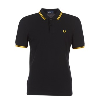 material Men short-sleeved polo shirts Fred Perry SLIM FIT TWIN TIPPED Black / Yellow