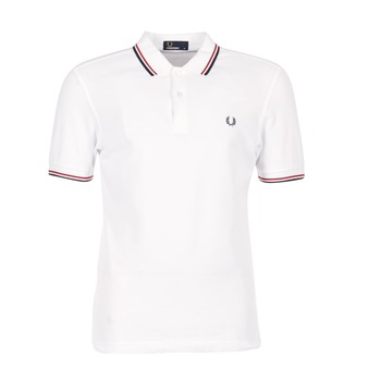 material Men short-sleeved polo shirts Fred Perry SLIM FIT TWIN TIPPED White / Red