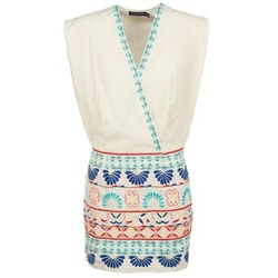 material Women Short Dresses Antik Batik POLIN White / Multicoloured