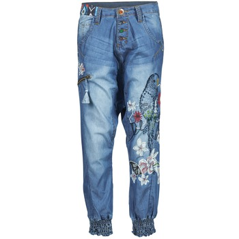 material Women Wide leg / Harem trousers Desigual ANIATINE Blue / MEDIUM