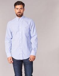 material Men long-sleeved shirts Gant THE POPLIN BANKER STRIPE Blue