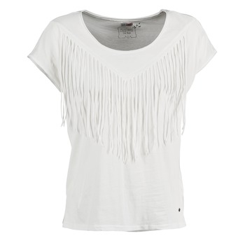 material Women short-sleeved t-shirts Mustang FRINGE White