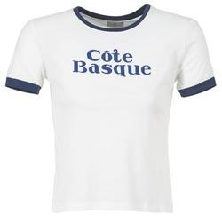 material Women short-sleeved t-shirts Loreak Mendian COTE BASQUE ECRU / MARINE