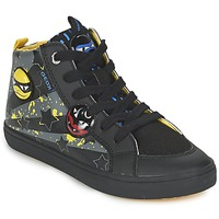 Shoes Boy High top trainers Geox KIWI BOY Black / Yellow