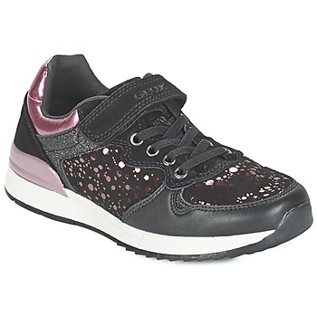 Shoes Girl Low top trainers Geox MAISIE GIRL Black / Pink