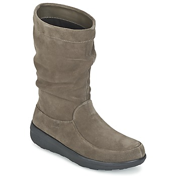 Shoes Women Mid boots FitFlop LOAF SLOUCHY KNEE BOOT SUEDE Taupe