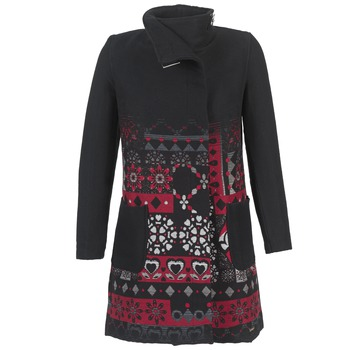 material Women coats Desigual JEFINITE Black / Red