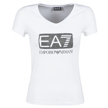 material Women short-sleeved t-shirts Emporio Armani EA7 FOUNAROLA White