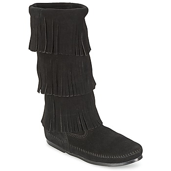 Shoes Women Boots Minnetonka CALF HI 3 LAYER FRINGE BOOT Black
