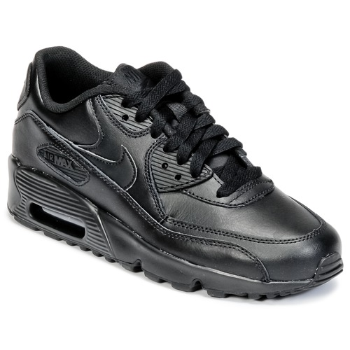 pretty nice e4163 449ac Shoes Children Low top trainers Nike AIR MAX 90 LEATHER GRADE SCHOOL Black