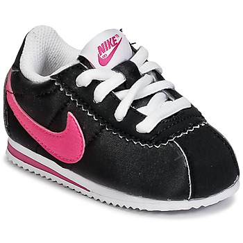 Shoes Girl Low top trainers Nike CORTEZ NYLON TODDLER Black / Pink