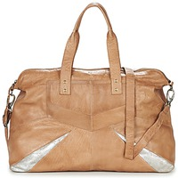 Bags Women Shoulder bags Pieces JACE LEATHER TRAVEL BAG COGNAC / Silver