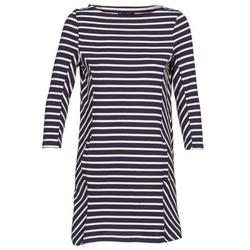 material Women Short Dresses Petit Bateau LESS MARINE / BEIGE