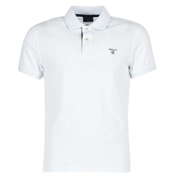 material Men short-sleeved polo shirts Gant CONTRAST COLLAR PIQUE White
