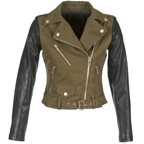 material Women Leather jackets / Imitation leather Diesel L-LUPUS-C  KAKI / Black