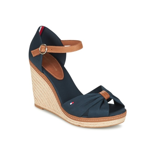 Discount Tommy Hilfiger Elena 56d Marine / Brown Sandals for Women On Sale