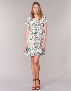 material Women Short Dresses Compania Fantastica EPINETA White / Green / Pink