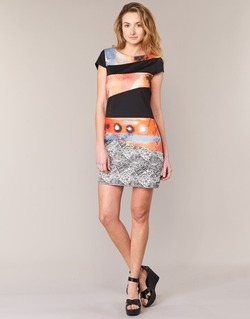 material Women Short Dresses Smash SERPENS Black / Orange / Grey