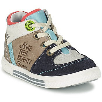 Shoes Boy High top trainers Catimini PIMENT Grey / TURQUOISE