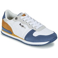 Shoes Women Low top trainers Pepe jeans GABLE ANGLAISE SOUL White / Blue / Grey