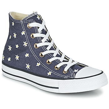 Shoes Women High top trainers Converse CHUCK TAYLOR ALL STAR DENIM FLORAL HI MARINE / Yellow / White