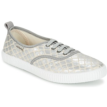Shoes Women Low top trainers Victoria INGLES TEJ PLACA SERPIENTE Silver
