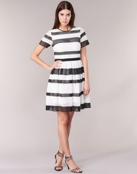 material Women Short Dresses MICHAEL Michael Kors GRAPHIC CR STRIPE DRS Black / White
